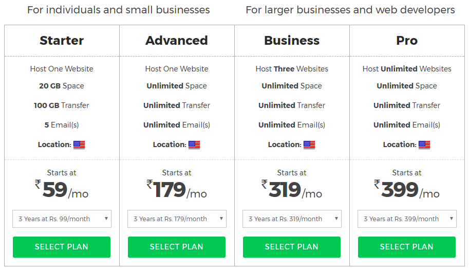 bigrock web hosting plans and pricing