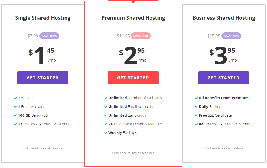 Hostinger Web Hosting Plans